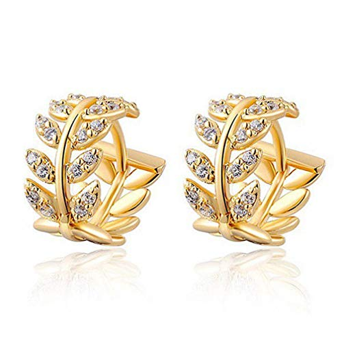 LJSLYJ Women Leaf Crystal Hoops Earrings Dangle Crystal Ear Studs Earrings,Gold