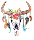 Bull Skull and Feather Wall Sticker Cow Horn Flowers Wall Decor26''x23.5''
