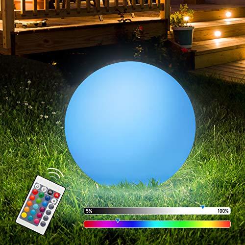 VINGO Kugelleuchte, φ31cm Solarkugel für Außen, 16 Farben 4 Modi Solarleuchten, IP67 RGB Fernbedienung Außenleuchte Solarlampen, für Garten Teich Rasen Party LED Dekoleuchte [Energieklasse A++]