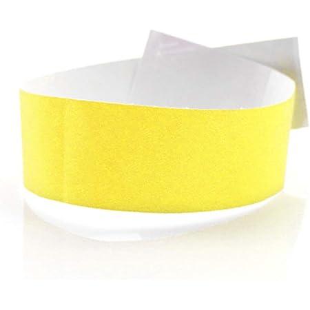 Fun Fan Line - 1.000 unités Bracelets d'identification 25 mm de large en papier tyvek. Bracelets de contrôle numérotés. Non transférable et résistant à l'eau. (Jaune de Fluor)