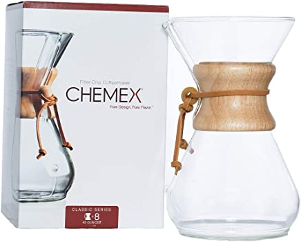 Chemex Classic Series Pour-over Glass Coffeemaker, 8-Cup, (CM-8A)