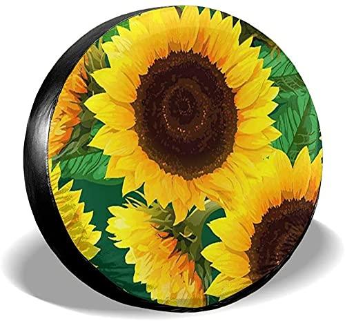 Sunflowers Wth Green Leaves Cubierta de neumático de repuesto,poliéster Universal 17 pulgadas Cubierta de neumático de rueda de repuesto para remolque,RV,SUV,camión,camión,camper,viaje,remolque,acces