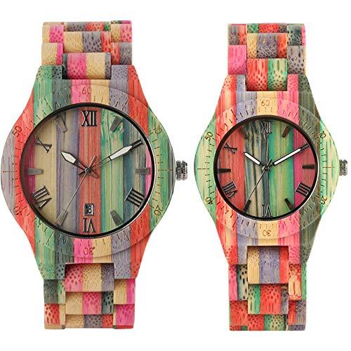 FFHJHJ Coloridos Relojes de Madera de bambú para Amantes de la Moda de Cuarzo, Reloj de Madera Completo, Elegante Reloj de Pulsera con Brazalete de Madera Natural para Parejas, Reloj para Parejas 5