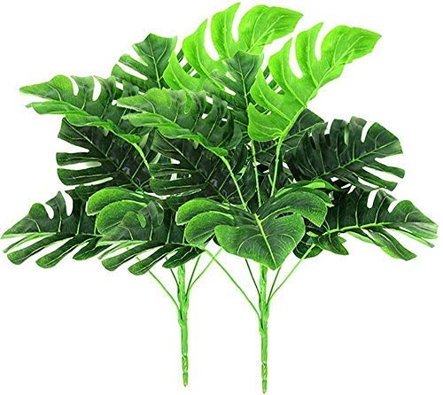 Christmas decoration Artificial Plant, 2 Pack Artificial Plants-Fake Plastic Greenery Tropical Shrubs Palm Leaves Home House Garden Office Wedding Party Decoration for Indoor Outdoor