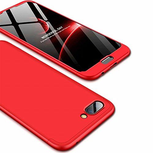 Ttimao Kompatibel mit Huawei Honor 10 Hülle PC Hardcase [Gehärtetem Glas Film] Scratch und Shockproof Ultradünne 360 Grad Full-Cover Case 3-in-1-Schutzhülle (Rot)