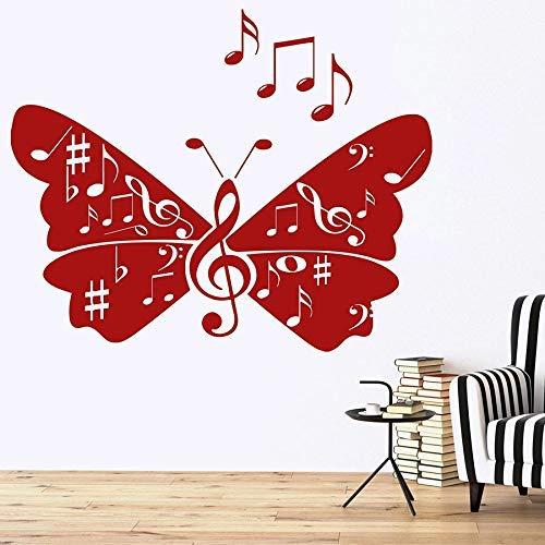 Etiqueta De La Pared Notas Musicales Signos Mariposa Canción Vinilo Vinilos Decorativos Música Aula Estudio Decoración Interior Arte Mural 42X34 Cm Rojo