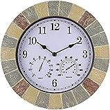 WLYX 14 En Jardín Reloj de Pared de Pizarra de Efecto con el termómetro y higrómetro-35.5cm números Romanos, al Aire Libre de los números Romanos del Reloj Impermeable