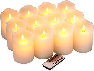 qinxiang Flameless Candles Flickering LED Candles Set of 12 (D:3