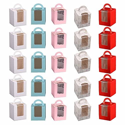 25 Piezas Cajas de Cupcakes, Portátil Cupcake Cajas, Cajas de Regalo para Magdalenas, Adecuada para Regalar, Empaque para Hornear, Caja de Postre para Fiestas(Cinco Estilos)