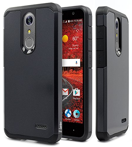 NageBee Design Premium [Heavy Duty] Defender [Dual Layer] Protector Hybrid Cover Case Compatible with ZTE Blade Spark (Z971) / ZMax One (Z719DL) / Grand X4 (Z956) -Black