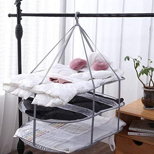 KAKETE 物干しネット 平干しネット 洗濯干しネット 型崩れ防止 ニットセーターぬいぐるみ 枕 干しネット 3段 折りたたみ コンパクト 平置きサイズ78×77cm