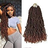 Nu Locs Crochet Braids Hair 18inch 21Strands/pack 6packsPremium Fiber Synthetic Hair Extensions Hair Pre-Looped Nu Faux Locs Crochet Braids Hair ANGEL GRACE (18inch/T30)