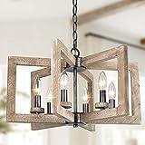 """Farmhouse Chandelier, 20"""" Diameter New Modern Drum Chandelier, 6-Light Geometric Farmhouse Light Fixture"""