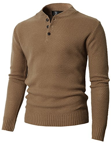 H2H Mens Casual Three Button Down Henley Style Pullover Sweater Beige US M/Asia L (KMOSWL0202)