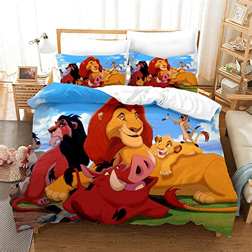 NOOS Cartoon Lion Bear Duvet Cover Set Full Size, 3D Cartoons Animal Bear and Lion King Bedding Best Gift for Kids, Soft Microfiber Bed Set 3PCS(1 Duvet Cover,2Pillowcases) No Comforter Inside