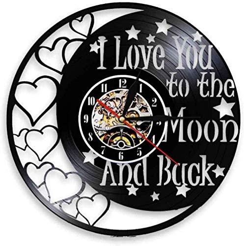 Reloj de Pared de Vinilo te Amo a la Luna y Volver a Las Citas de Amor Reloj Vintage para Parejas como Regalos del día de San valentín decoración del hogar