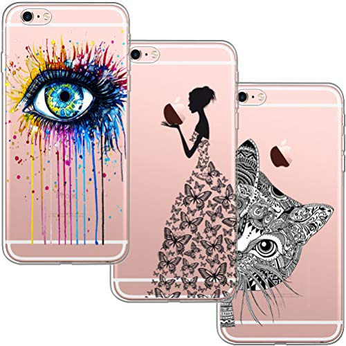 [3 Pack] Funda para iPhone 6 Plus, Funda iPhone 6S Plus,Blossom01 Ultra Suave Funda de Silicona para TPU con Dibujo Animado Lindo para iPhone 6 Plus / 6S Plus - Eye & Butterfly Girl & Cat