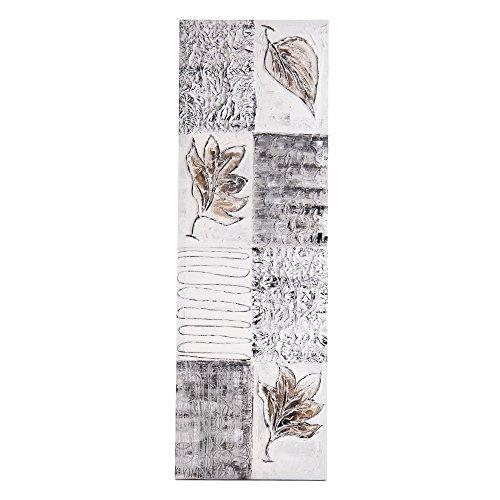 Lohoart L-1220- Cuadro Artesanal en Lienzo Pintado a Mano, decoración hogar Cuadro Pared, Color Blanco y Plata, Medidas: 150 X 50 cm.