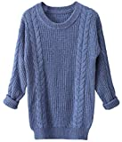 Liny Xin Women's Cashmere Oversized Loose Knitted Crew Neck Long Sleeve Winter Warm Wool Pullover Long Sweater Dresses Tops (Flower Blue)