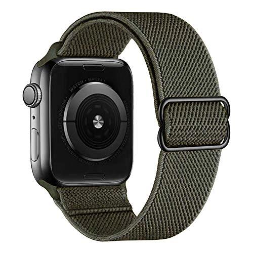 MroTech kompatibel mit Apple Watch Armband 40mm 38mm Uhrenarmband Elastic Woven Loop Ersatzarmband Sport Band Ersatz für iWatch SE Serie 6/5/4/3/2/1 Nylonarmband Nylon Stoff Schlaufe 38/40 mm Grün