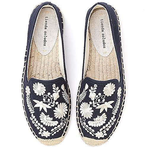 LYNLYN Gestickte Schuhe für Frauen Womens Casual Espadrilles Slip auf atmungsaktiven Flachs Hanf Leinwand für Mädchen Schuhe Mode Stickerei Komfortable Damen Mädchen Gestickte Fersen - 2