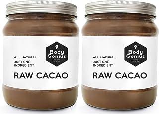 BODY GENIUS Raw Cacao. 2x500g. Cacao Puro en Polvo. Natural. Sin Azúcar. Alto Contenido Antioxidantes. Hecho en España.