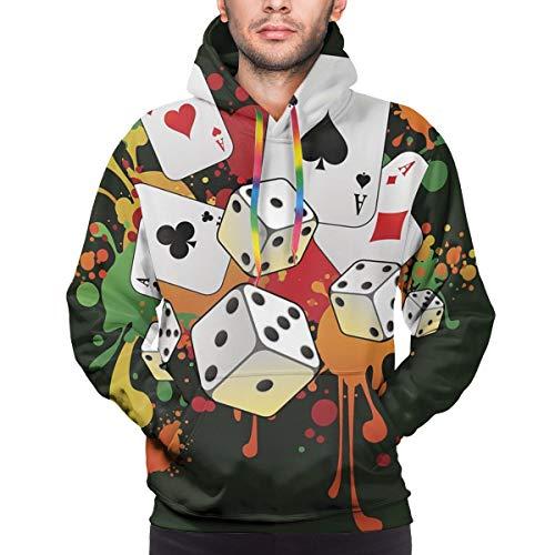 Männer Hoodie Vektor Moderne Glücksspiel-Komposition mit Karten und 3D-Würfeln auf dem gemalten Hintergrund. Sweatshirt S.