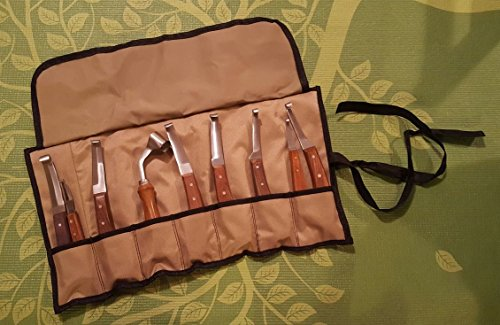 Set of 9 Hoof Knife Knives Farrier Equine Horse Sheep Stainless Steel Blade Polished Wooden Handle + Fold Up Case