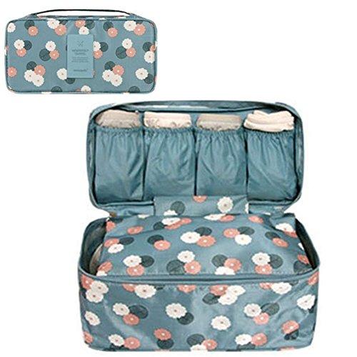 GossipBoy Neceser multiusos, con divisores para almacenar ropa interior, para sujetadores y braguitas, bolsa portátil para viajes, tela, azul, 13x12x26