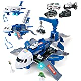 UNIH Transport Cargo Airplane Toy with 4 Toy Cars, Kids Police Airplane, Music Toy Plane with Sound and Colorful Lights, Toys for 3 4 5 Year Old Boys Girls