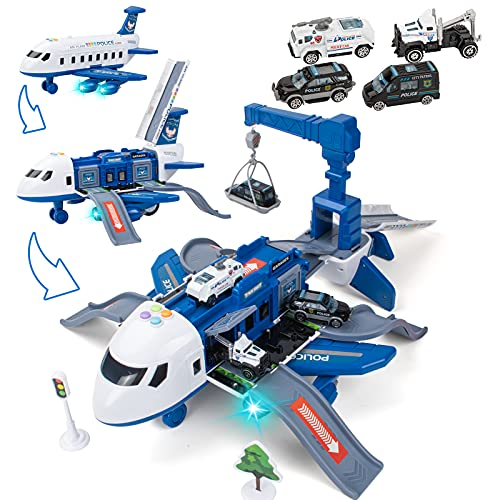 UNIH Transport Cargo Airplane Toy with 4 Toy Cars, Kids Police...
