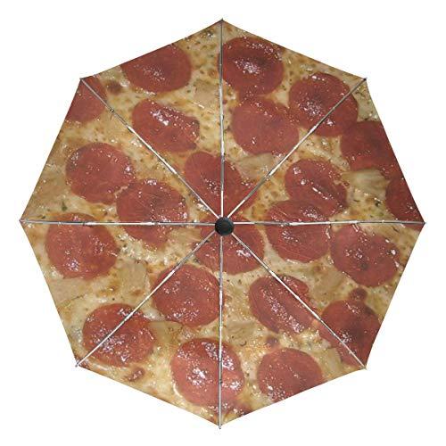 VVIEER Automatic Pizza Small Lightweight Travel Umbrella 3 Folds Compact Rain