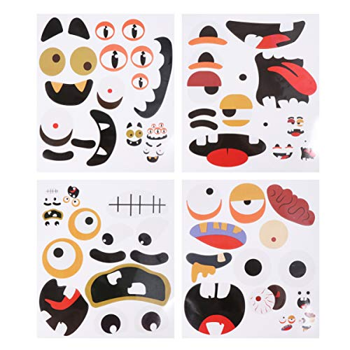 Amosfun 8 Sheets Halloween Funny Sticker Trick or Treat Party Tricky Grimace Sticker Party Decorative Decal Creative Halloween Supplies(4 Pattern, 2 Sheets for Each Pattern)