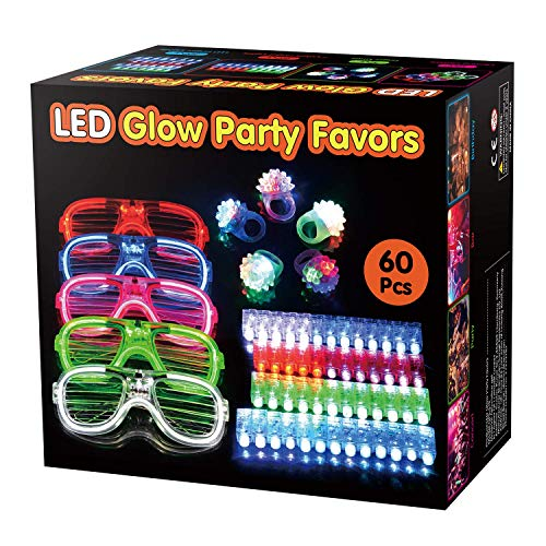 Wesimplelife 60er LED Glühen Blinkende Spielzeuge Licht Oben Gastgeschenke Spielzeug-Set LED-Party-Pack mit 5 Sonnenbrille, 5 LED-Gelee-Ring, 50 Fingerlichter Partyartikel für Kinder
