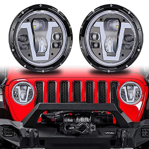 """7""""runder LED-Scheinwerfer mit Cree Hi/Lo Beam, bernsteinfarbenen und weißen DRL-Halo-Ringwinkelaugen für JK TJ CJ Defender 90 110"""