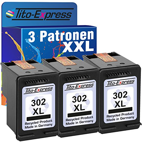 Tito-Express PlatinumSerie 3 Druckerpatronen Black kompatibel mit HP-302XL Envy 4520 4521 4522 4524 4525 4526 4527 4528 Officejet 3830 3831 3833 3834 3835 4650 4654 4655 4656 4657 4658