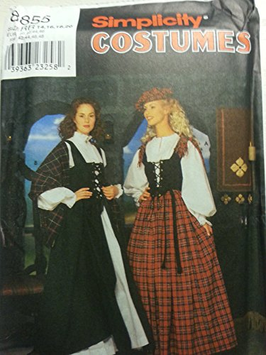 Simplicity Costumes Pattern #8855 Celtic Outfits Misses Size RR: 14, 16, 18 & 20