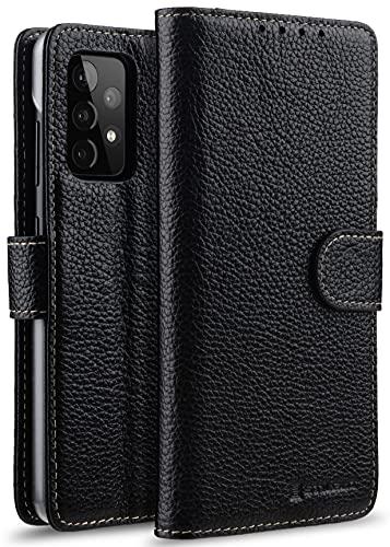 StilGut Talis kompatibel mit Samsung Galaxy A52 und A52 5G Hülle mit Kartenfach aus Leder, Wallet Hülle, Lederhülle mit Fächern, Standfunktion und Verschluss - Schwarz