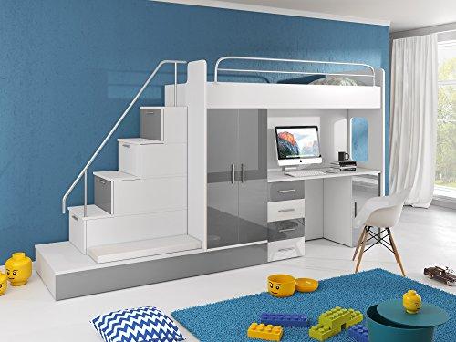 Möebel für Dich Hochbett TOMI - Schreibtisch, Schrank, Treppe und Gästebett mit Hochglanz-Fronten in weiß/schwarz/rosa/grau/lila/blau (grau)