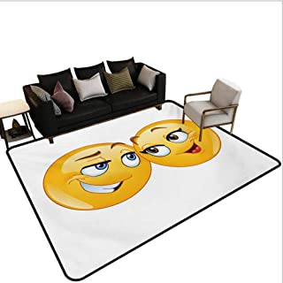 Bedroom Rug Loving Emoticons Couple Looking at Each Other Romantic Smiling Flirting Expressions Living Room Carpet Multicolor Area 5'x7'
