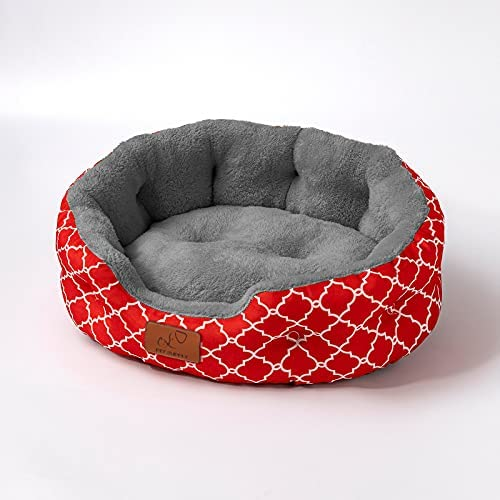 Uozzi Bedding 25 inch Big Dog Bed & Cat Bed, Pet Beds for Indoor Cats or Small Dogs, Machine Washable Super Soft & Plush Flannel Pet Supplies, Slip-Resistant Oxford Bottom,Lantern Print Red