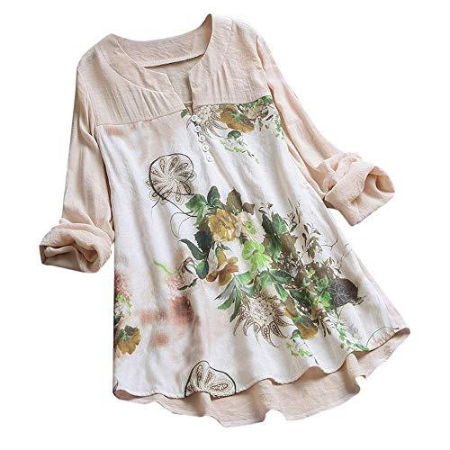 YEBIRAL Damen Bluse V-Ausschnit Langarm Shirt Leinen Einfarbig Lässige Lose Tunika Tops T-Shirt Hemdbluse Große Größen (EU-38/CN-M, Z- Beige)