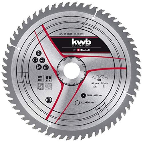 kwb by Einhell Hoja de sierra HM (Ø 254 x 30 mm, 60 dientes, apta para sierra circular de mesa Einhell TC-TS 2025/2 eco y sierra ingletadora TC-SM 254 y TC-SM 2531/1 U)