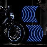TOMALL 18 adesivi riflettenti per cerchioni da 40,6 a 48,3 cm, per moto, auto, ciclismo, bicicletta, bicicletta, decorazione di sicurezza riflettente per auto, colore: blu