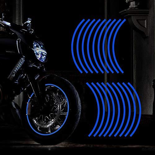 """TOMALL 18pcs verlängern 16\""""-19\"""" reflektierende Rad Felgenstreifen Aufkleber für Motorradräder Auto Radfahren Fahrrad Fahrrad Nacht reflektierende Sicherheit Dekoration Streifen Universal (Blau)"""