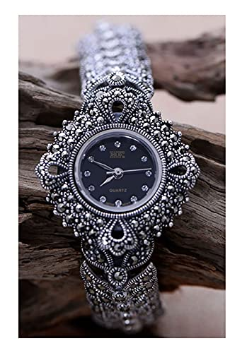 VIVIANSHOP Women's 925 Sterling Silver Watche, Accesorio de Moda Retro 925 Pulsera de chasis Negra de Plata, Regalo para la joyería de Plata de mamá y Novia.