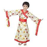 Kaku Fancy Dresses Japanese Kimono Global Traditional Costume -Cream, 7-8 Years, for Girls