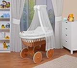 WALDIN Baby Stubenwagen-Set mit Ausstattung,XXL,Bollerwagen,komplett,18 Modelle wählbar,Gestell/Räder lackiert,Stoffe weiß