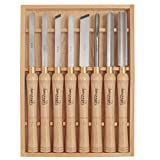 HSS Woodworking Lathe Chisel Set 8 Piece Set For Wood Turning. Hardwood Handles, High Speed Steel, Brass Ferrules, and Wooden Case For Storage