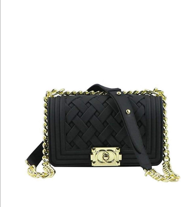 Ladies Handbag Frosted Matte Textured Jelly Single Shoulder Slung Over Hand Bag (color   Black)